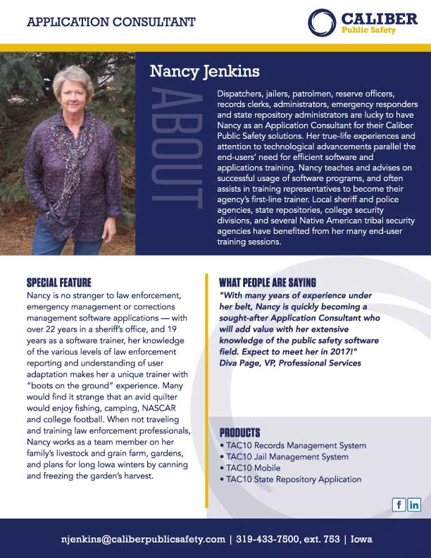 Nancy Jenkins Application Consultant